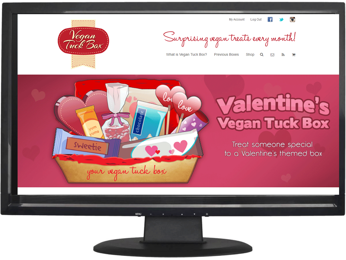 Website design for Vegan Tuck Box