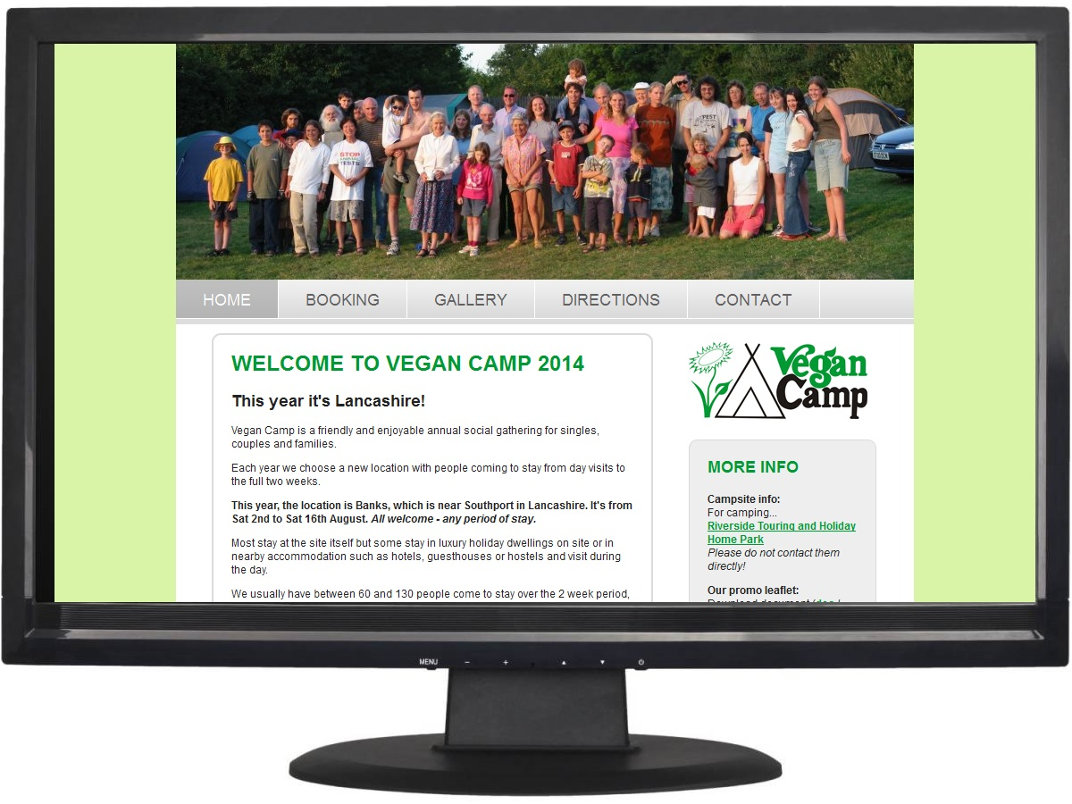 UK website design Huddersfield - Vegan Camp