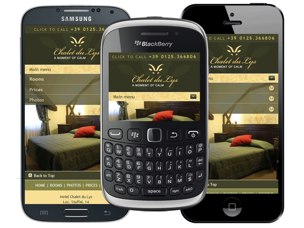 UK mobile website design for Chalet du Lys