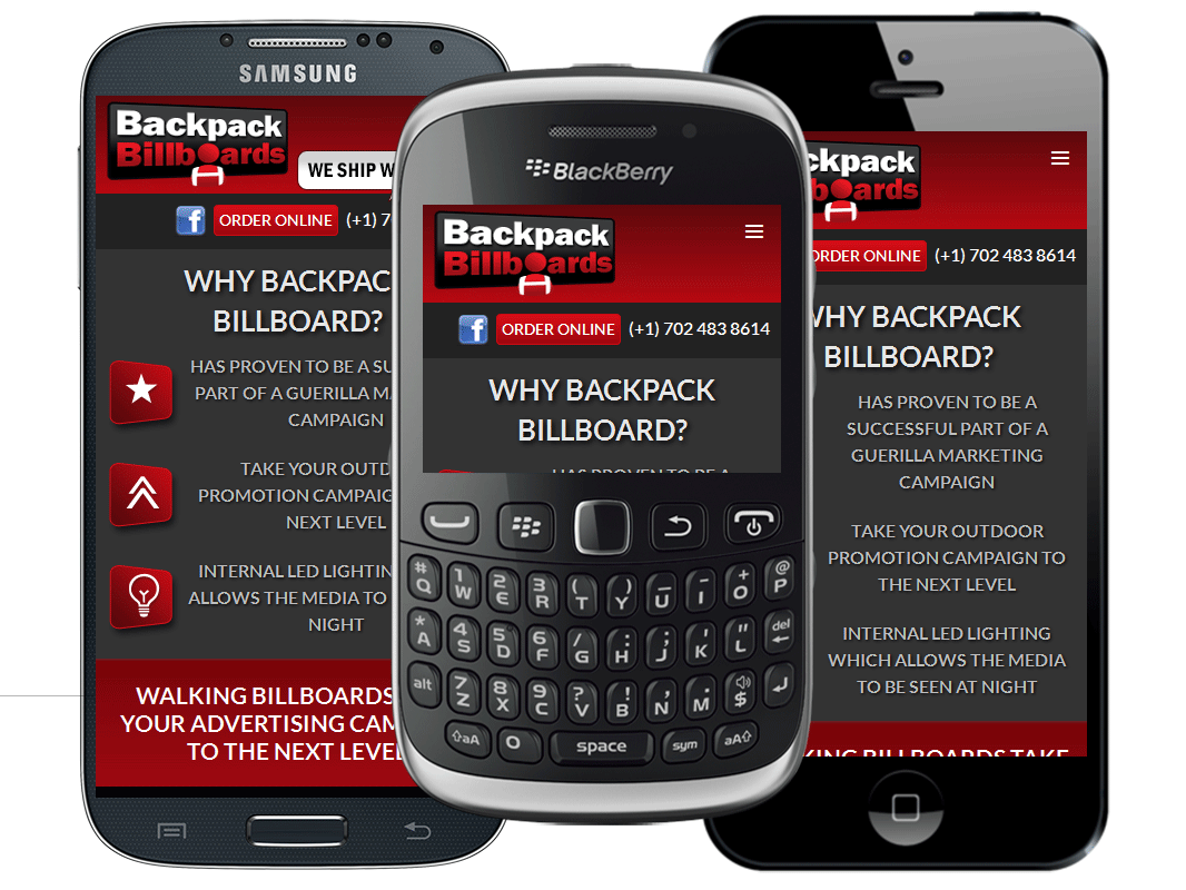 mobile website design for Backpack Billboards