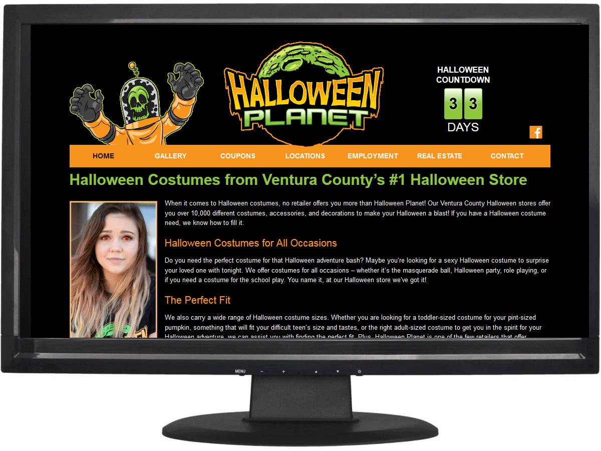 Website design for Halloween Planet