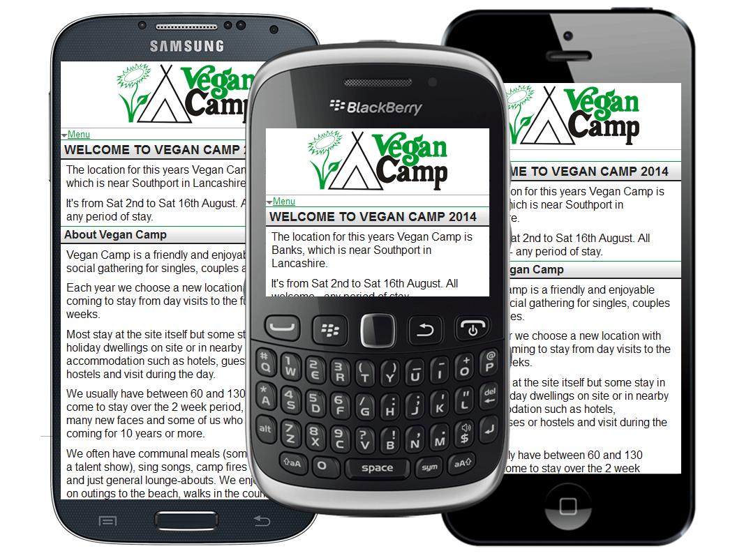 UK mobile website design for Vegan Camp