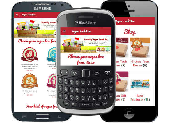 Mobile website design - Vegan Tuck Box