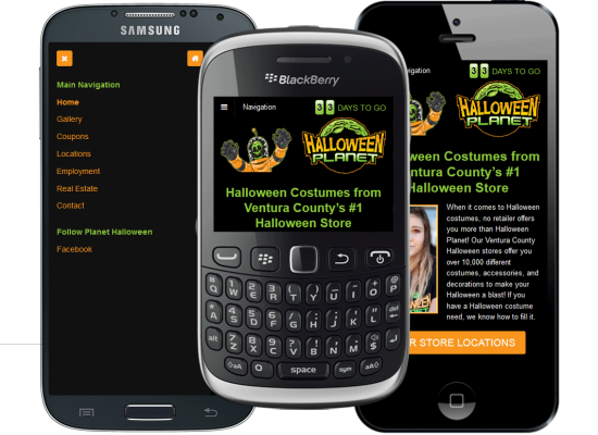 Mobile website design for Halloween Planet