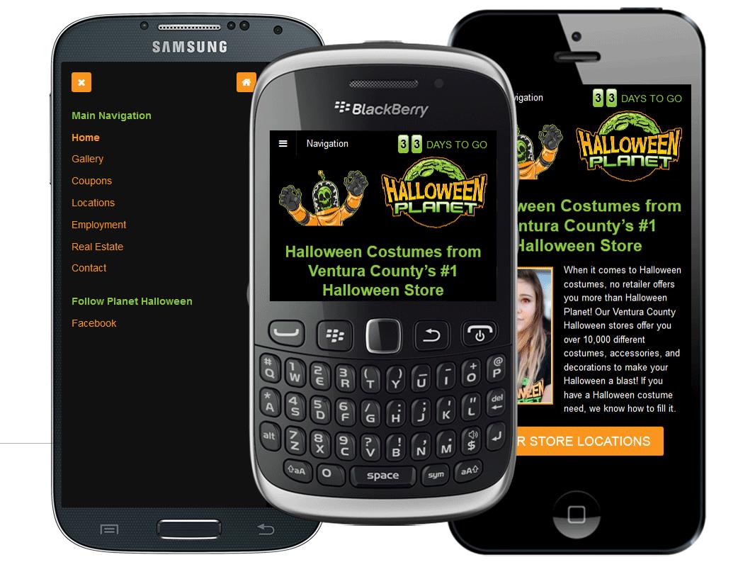 Mobile website design for Halloween Planet