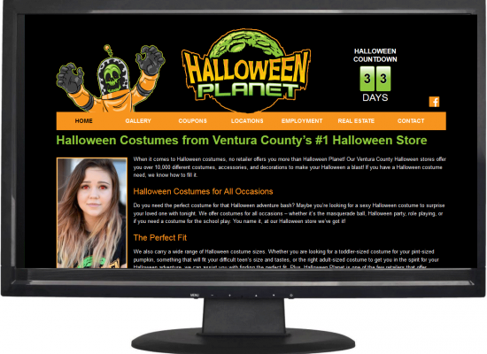 Website design for Halloween Planet